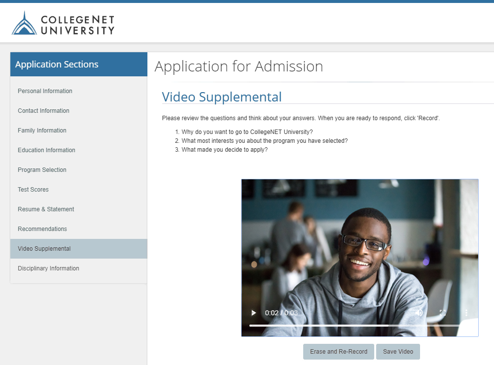 screen shot of video admissions with man on screen