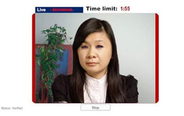 The Video Interview interface showing an international student.